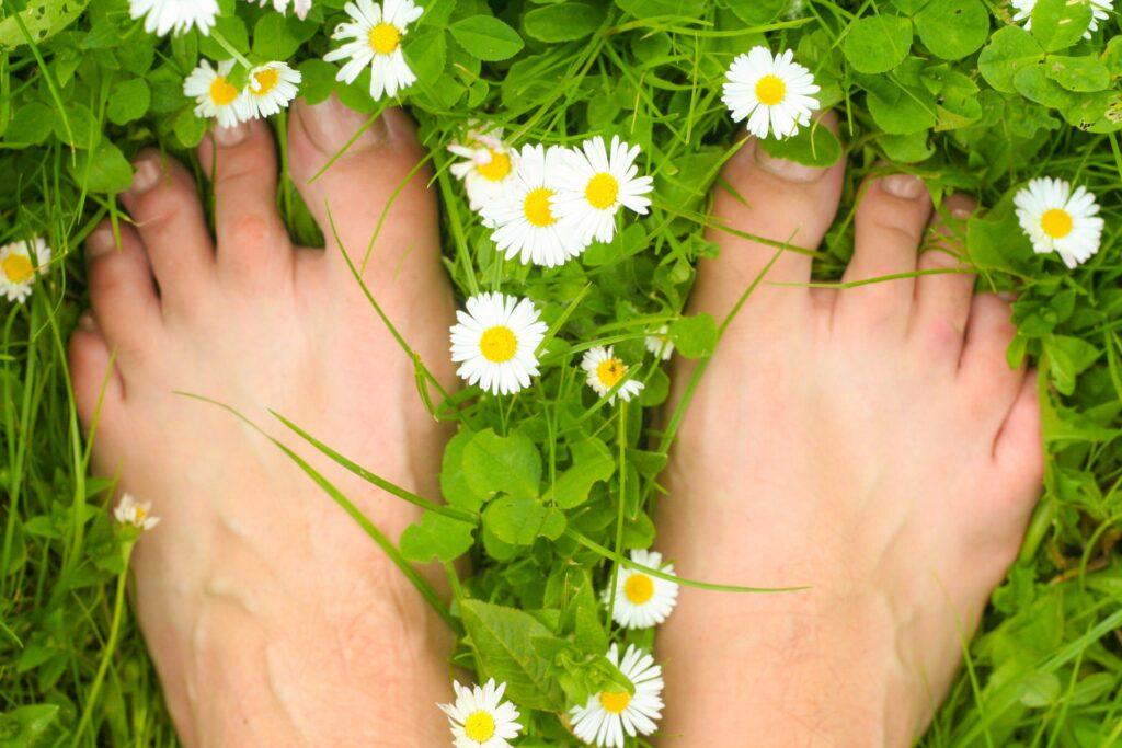 Bare feet on the grass